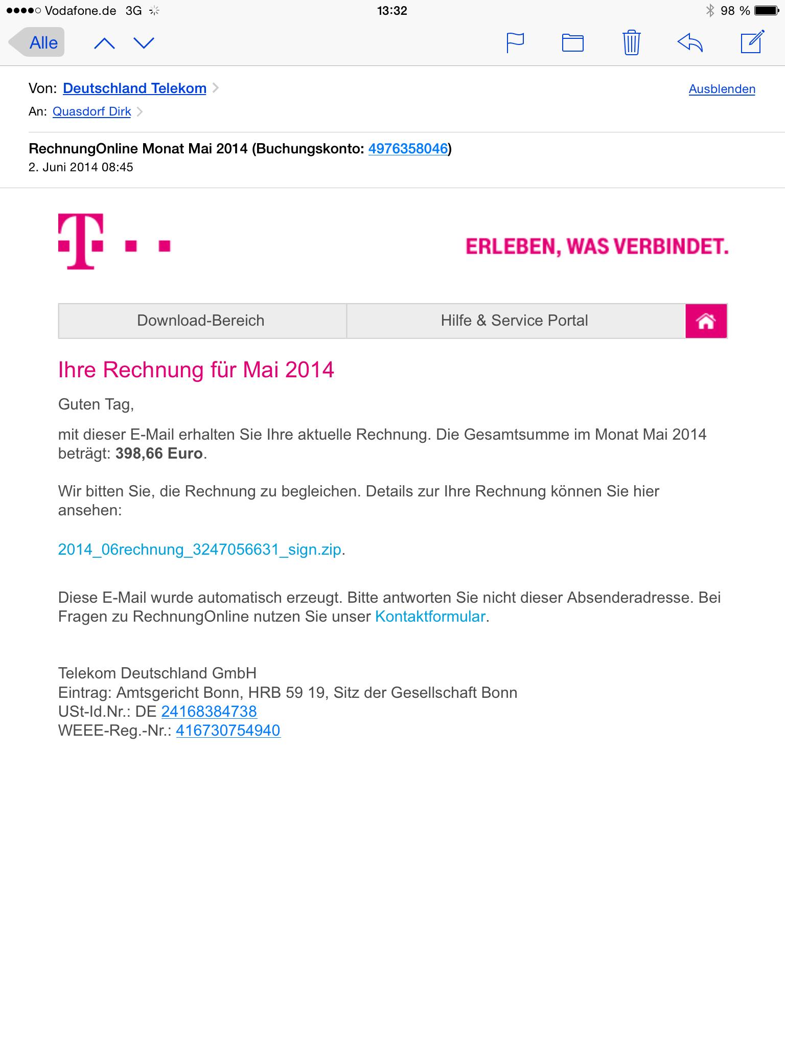 Angebliche Telekom Mail Dq Soft Dina Quasdorf