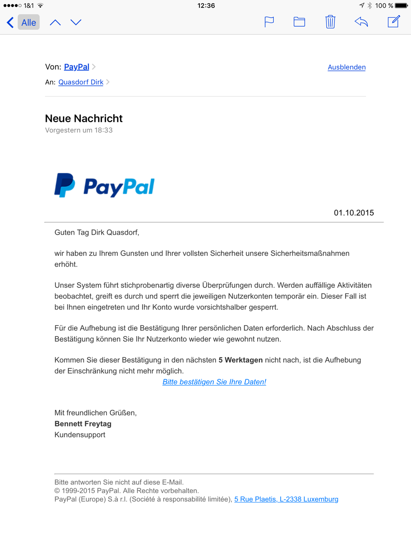 Paypal Zurückholen